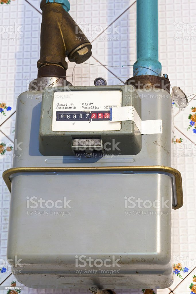 residential gas meter stock photo