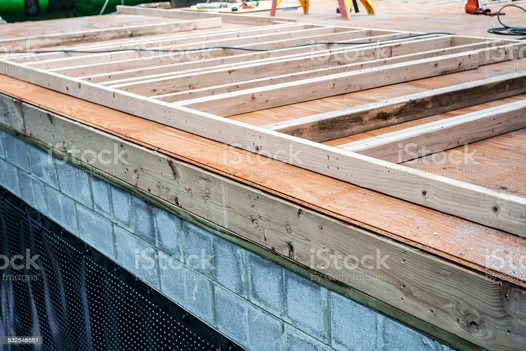 Residential Home Addition Construction Building Foundation Site stock photo