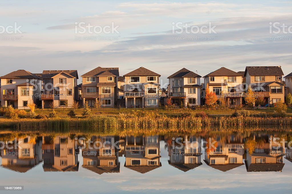 Residential Homes and Neighborhood in Suburbs Calgary Alberta royalty-free stock photo