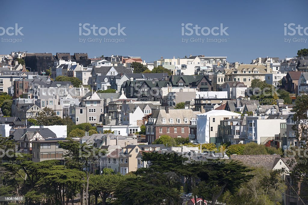 Residential Homes, San Francisco Skyline stock photo