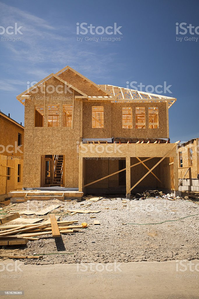 Residential house construction frame royalty-free stock photo