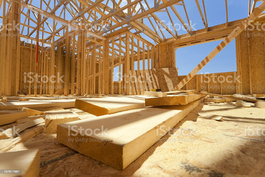 Residential house construction stock photo
