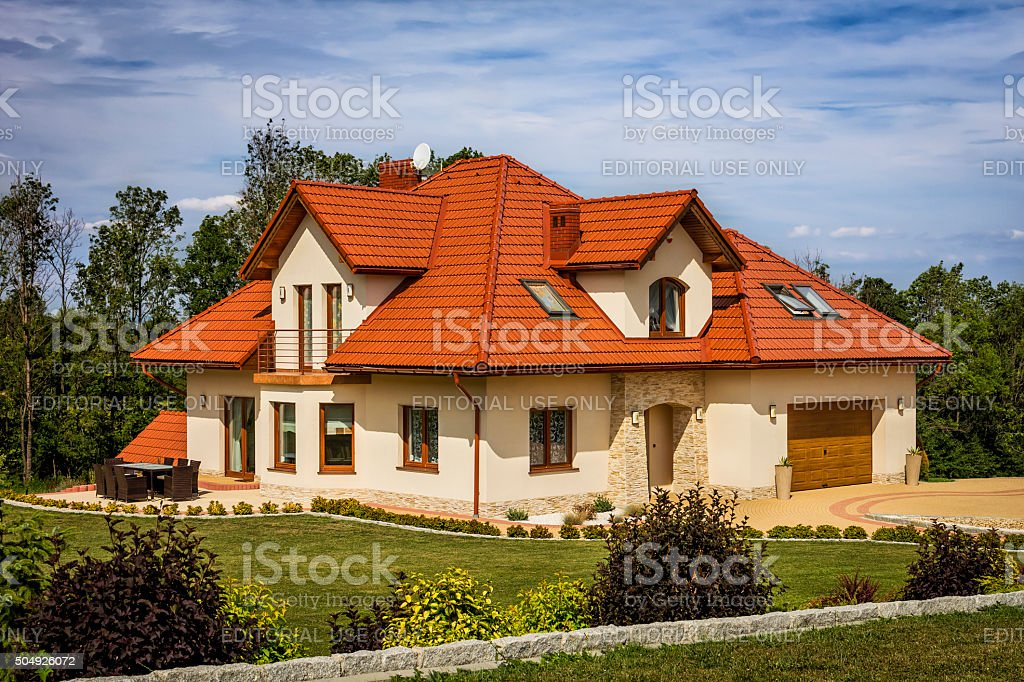 Residential house in the suburb stock photo