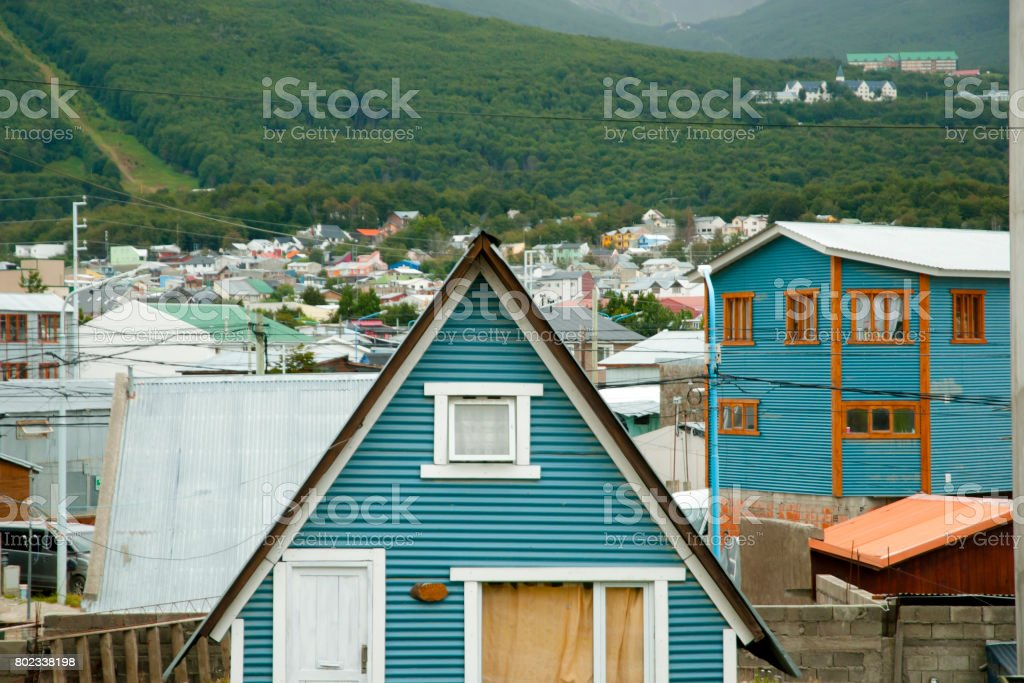 Residential Houses - Ushuaia - Argentina stock photo