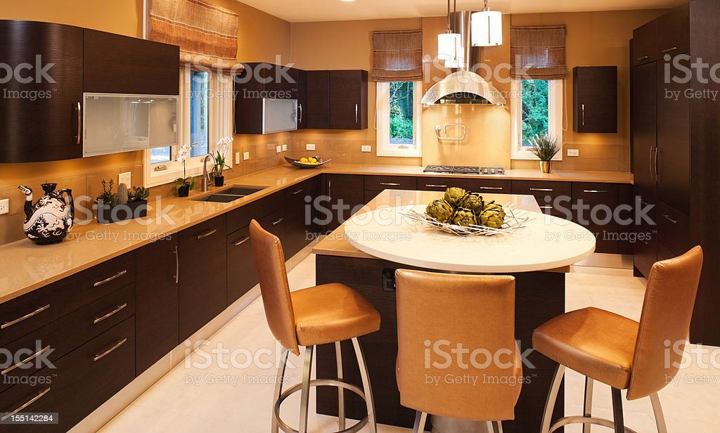 Residential kitchen with clean modern look. royalty-free stock photo