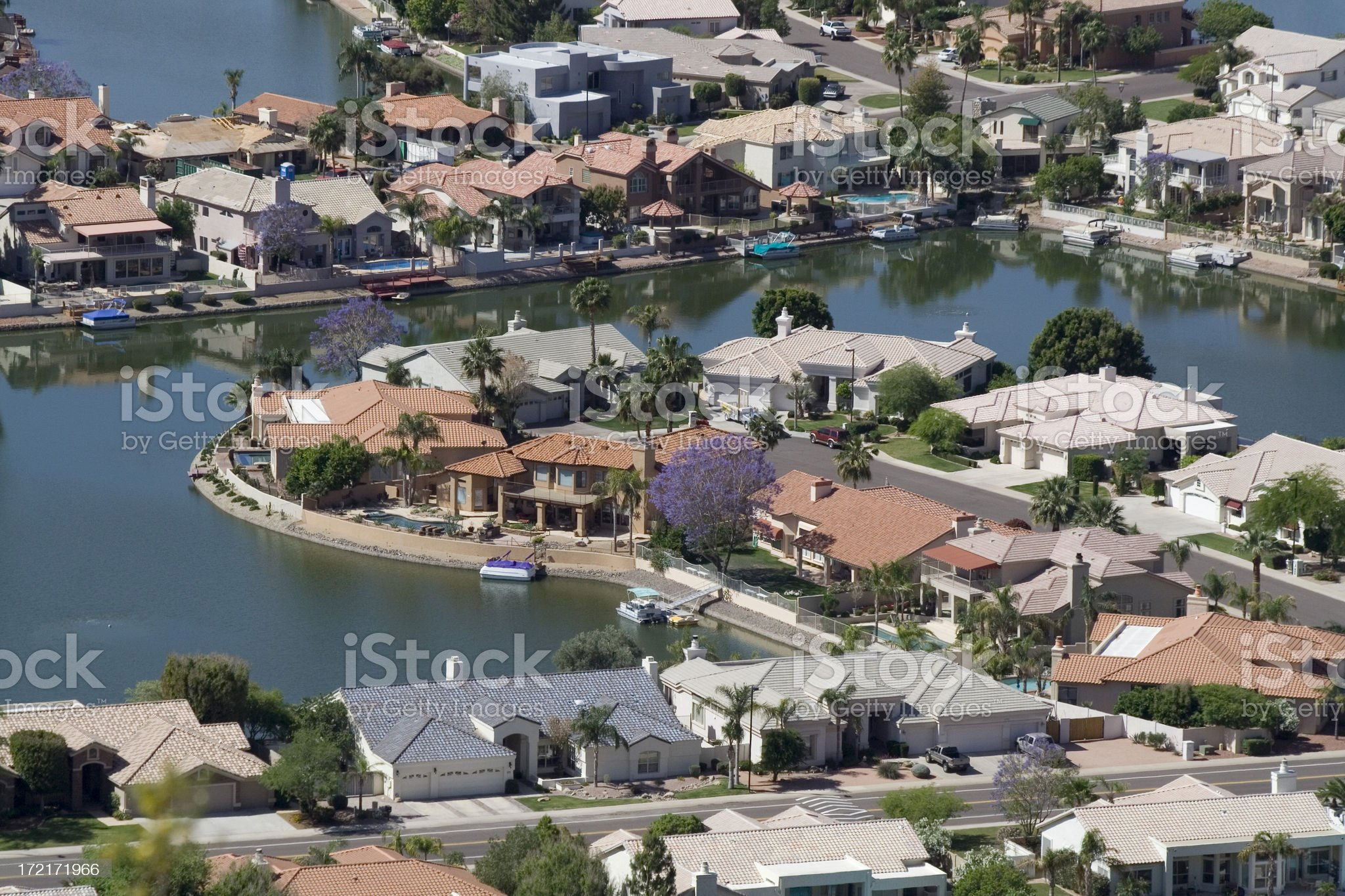 Residential Lake Houses royalty-free stock photo