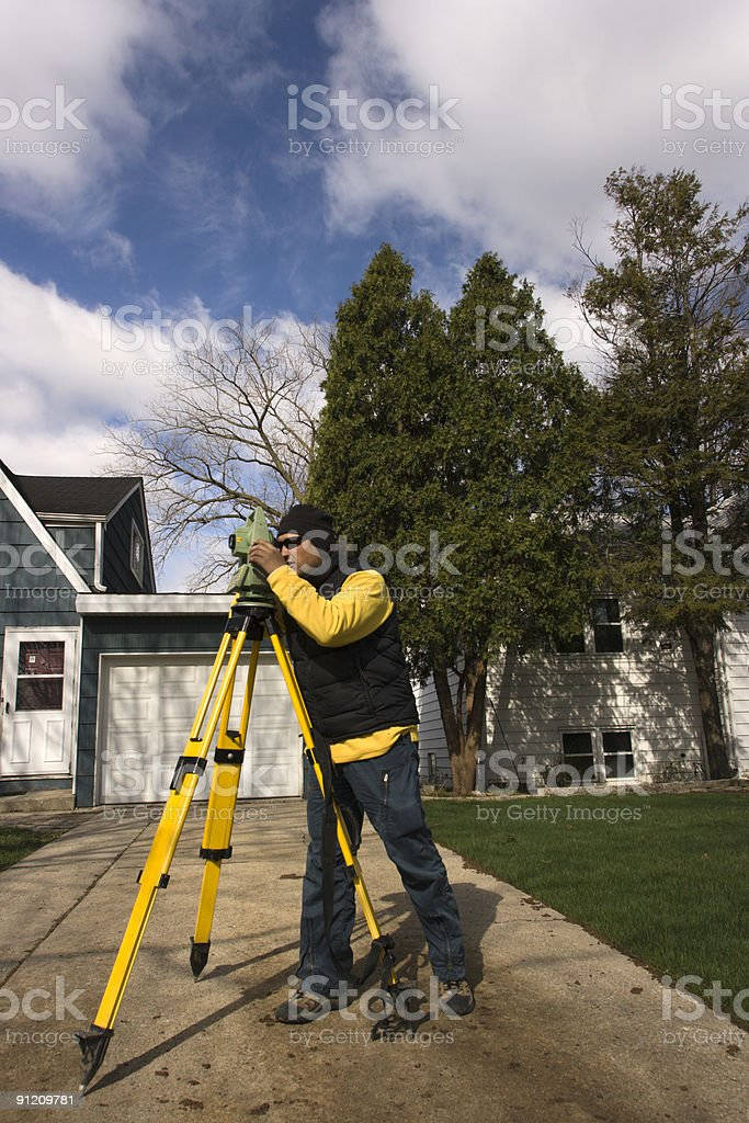 Residential Land Surveying royalty-free stock photo