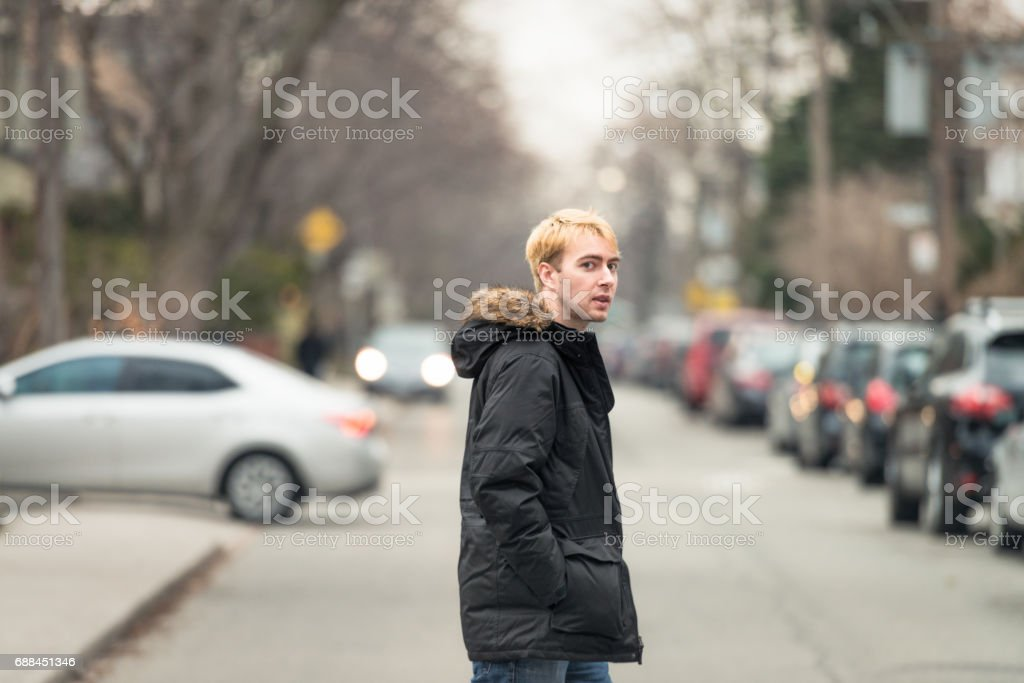 Residential lifestyle - pedestrian in winter stock photo
