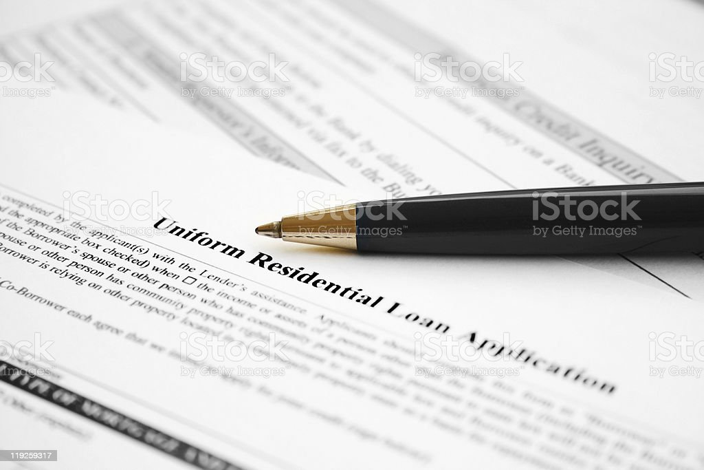 Residential loan application stock photo
