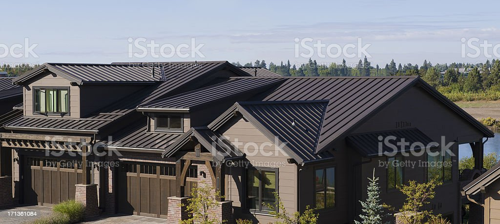 Residential metal roof stock photo