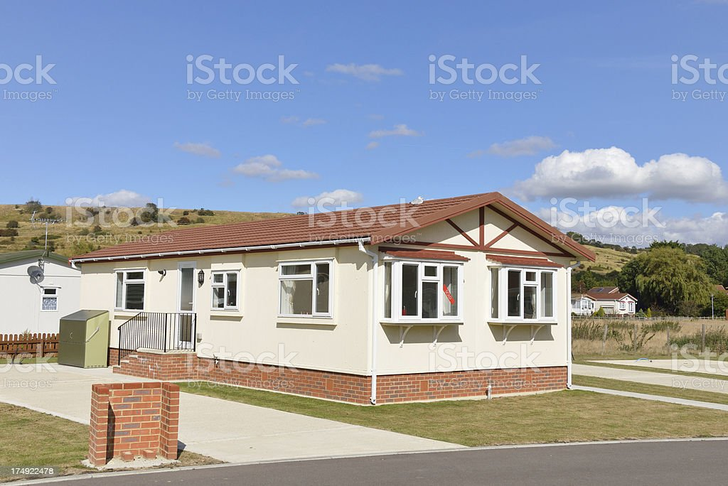 Residential mobile home on a quality caravan park estate royalty-free stock photo