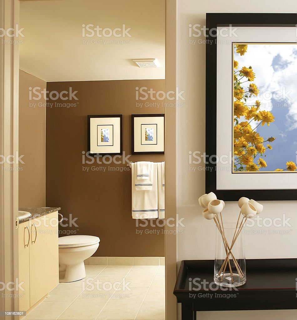 residential modern bathroom with frames royalty-free stock photo