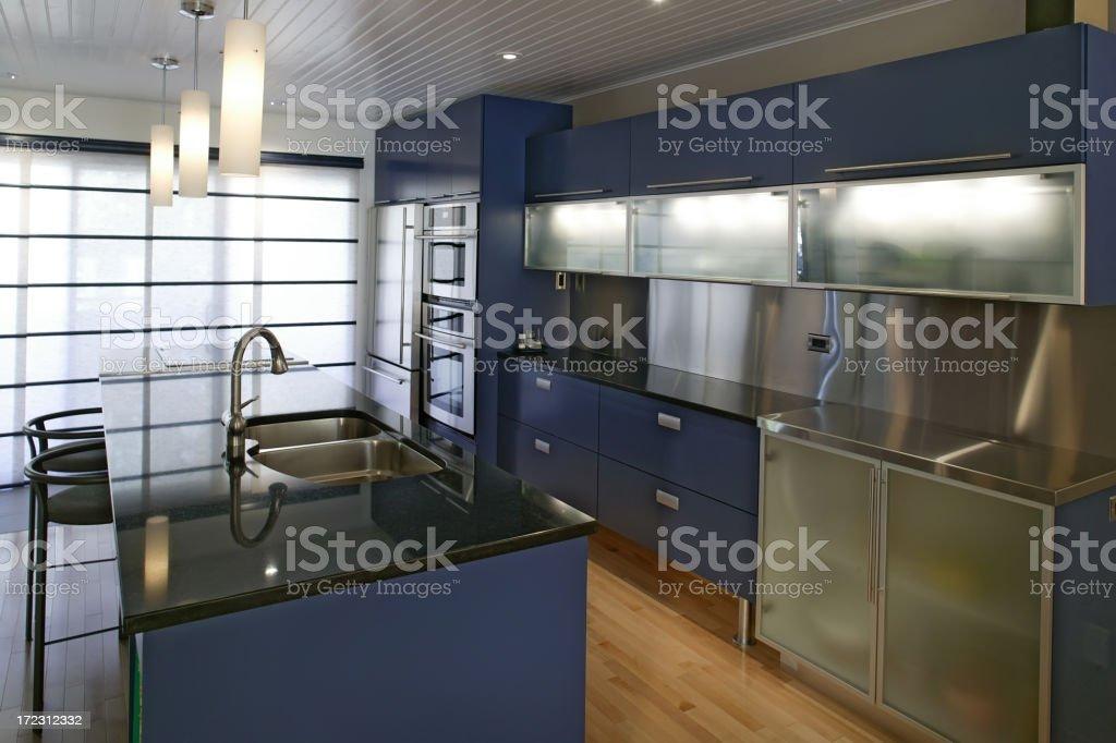 residential modern blue kitchen royalty-free stock photo