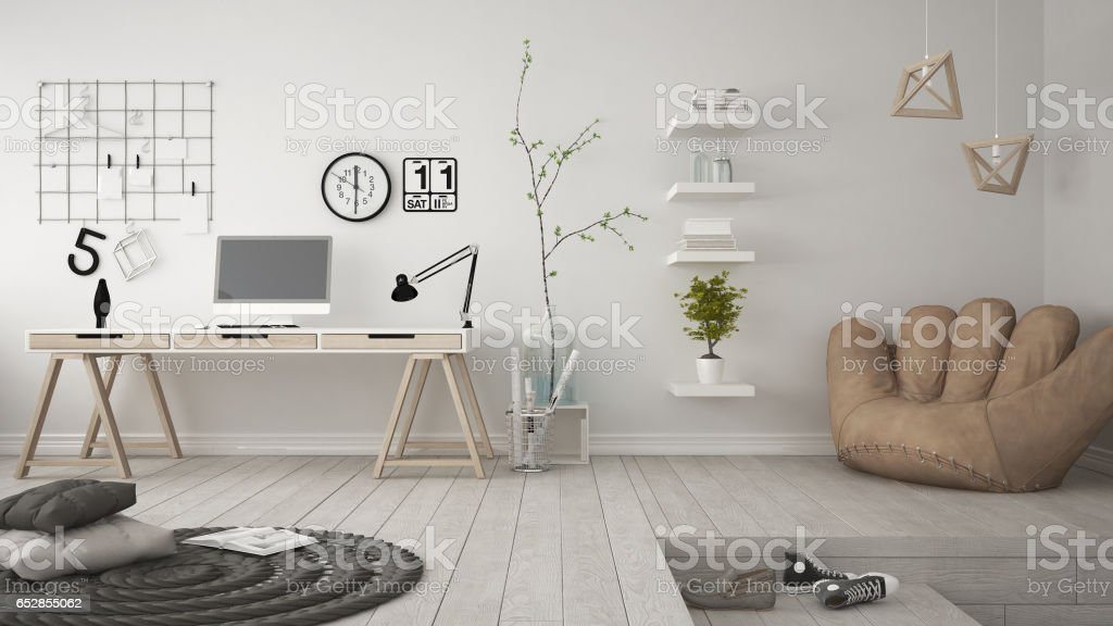 Residential multifunctional room with home office, workplace, scandinavian minimalist interior design stock photo
