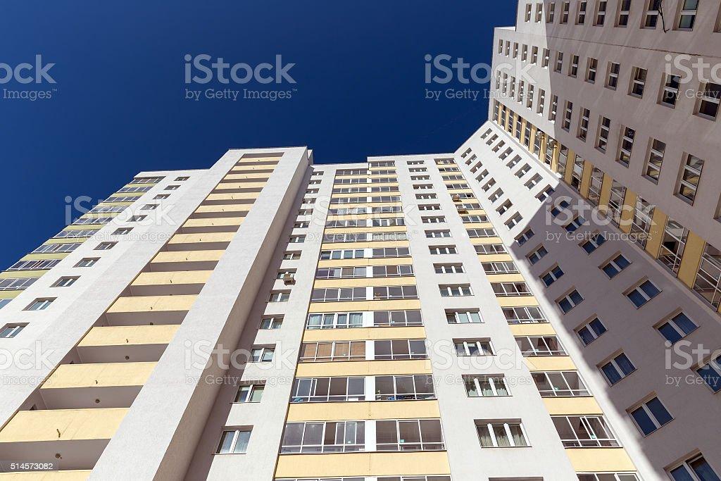 Residential multi-storey building. bottom view stock photo