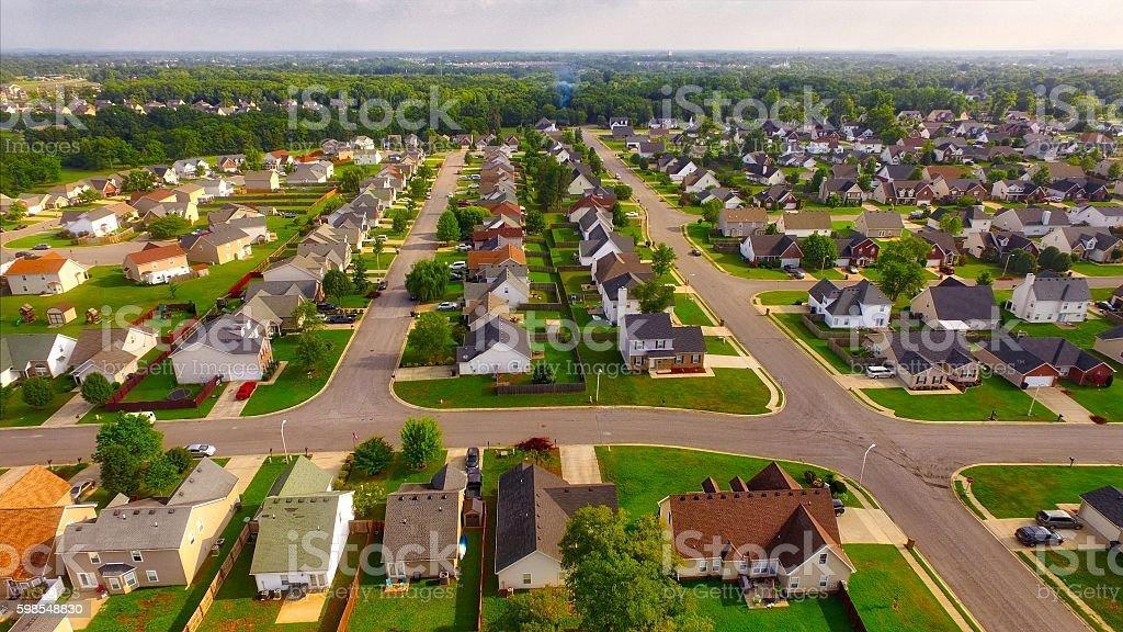 Residential neighborhood aerial in Murfreesboro, Tennessee stock photo