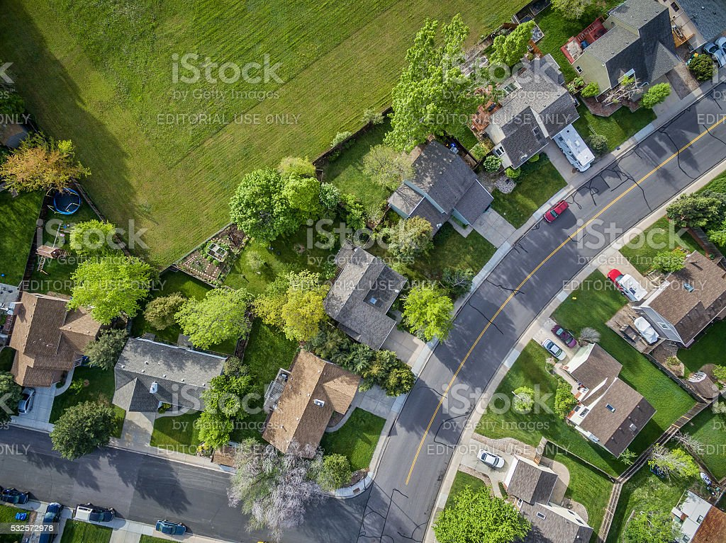residential neighborhood aerial veiw stock photo