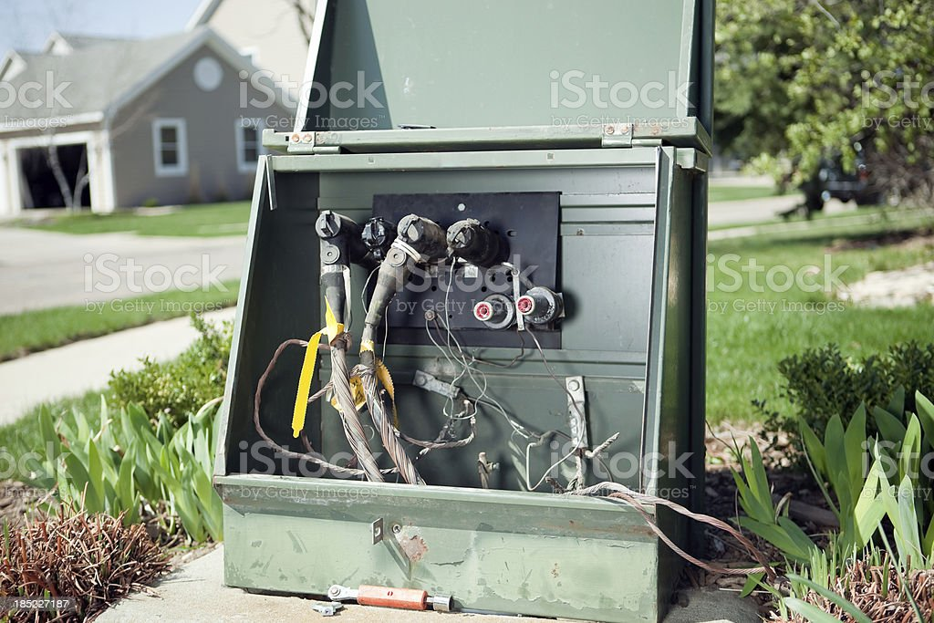 Residential Neighborhood Electrical Junction Box with Open Access Door stock photo