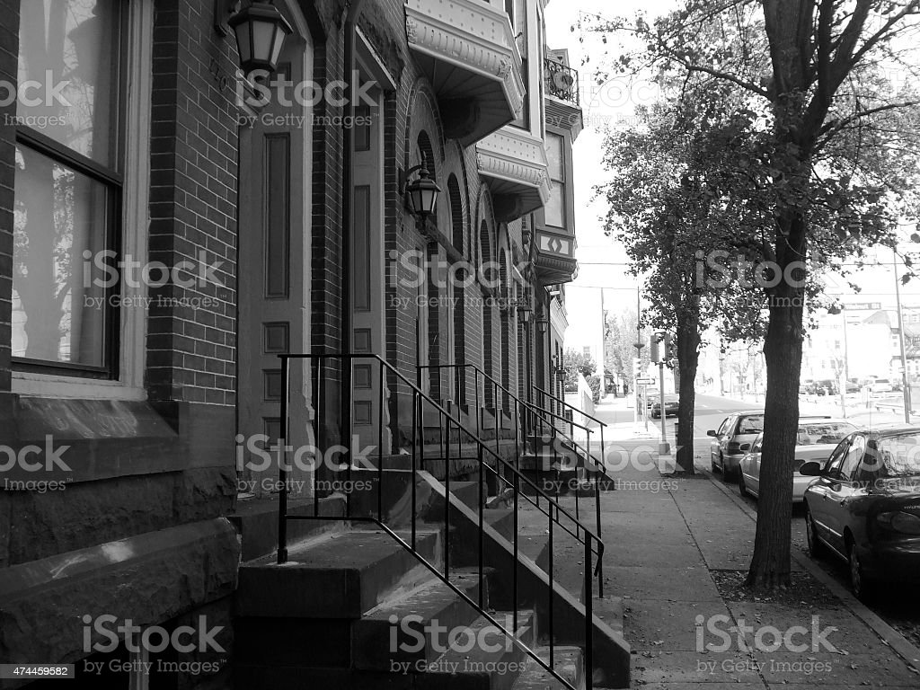 Residential Neighborhood in the City stock photo