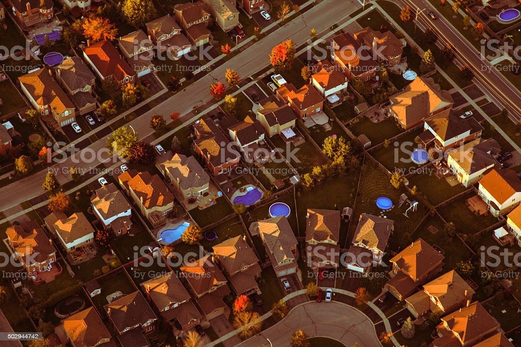 Residential Neighbourhood Aerial Photo stock photo