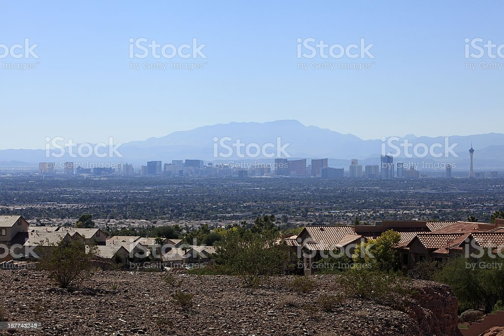 Residential Neighbourhood With The Las Vegas Skyline In Distance stock photo