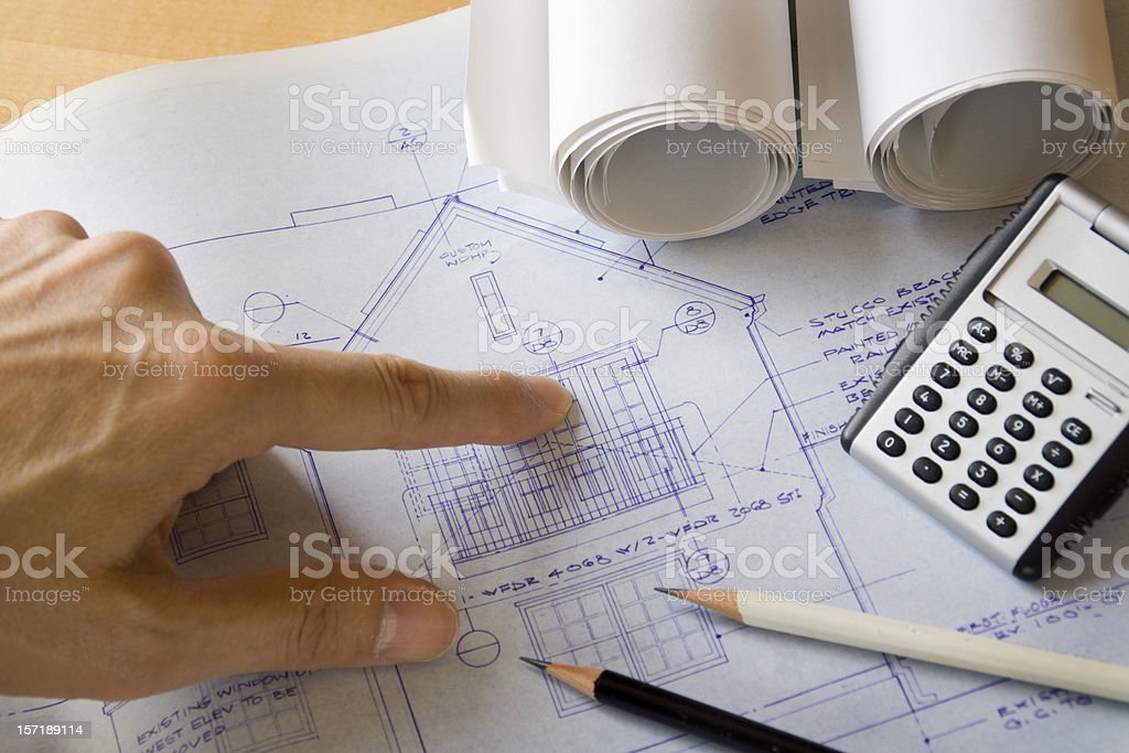 Residential Real Estate Home Improvement and Addition Construction Blueprint Plan royalty-free stock photo