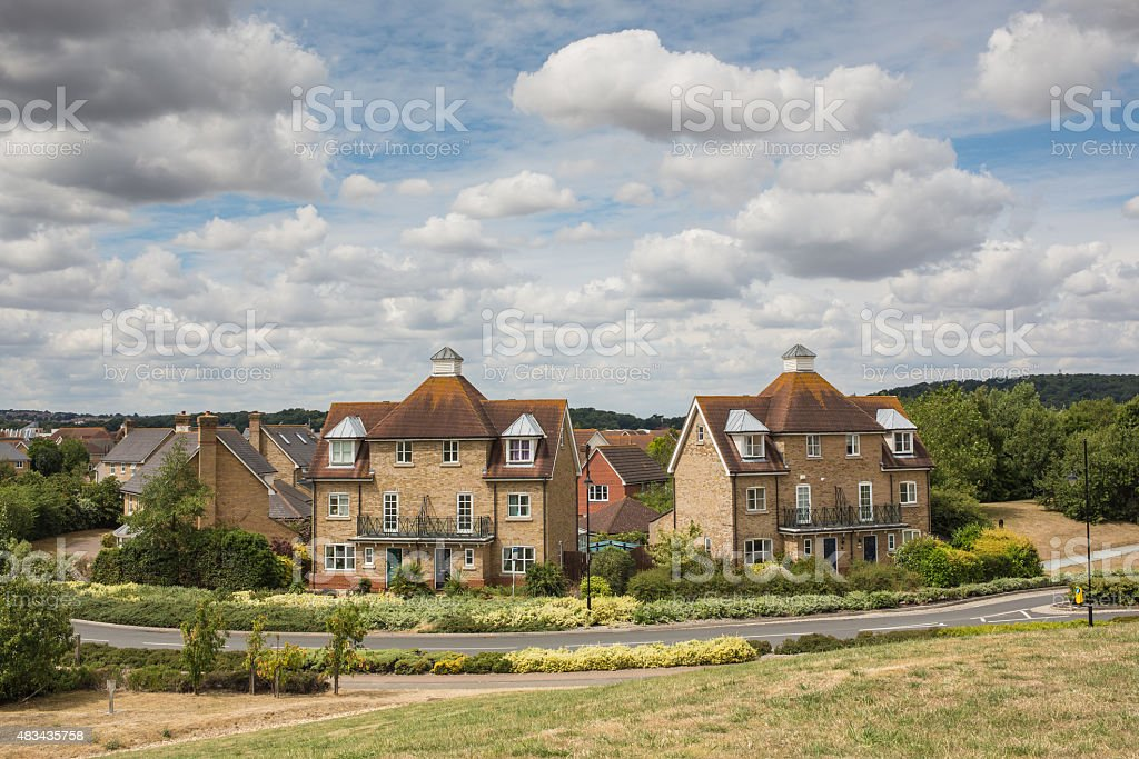Residential semi-detached town houses stock photo