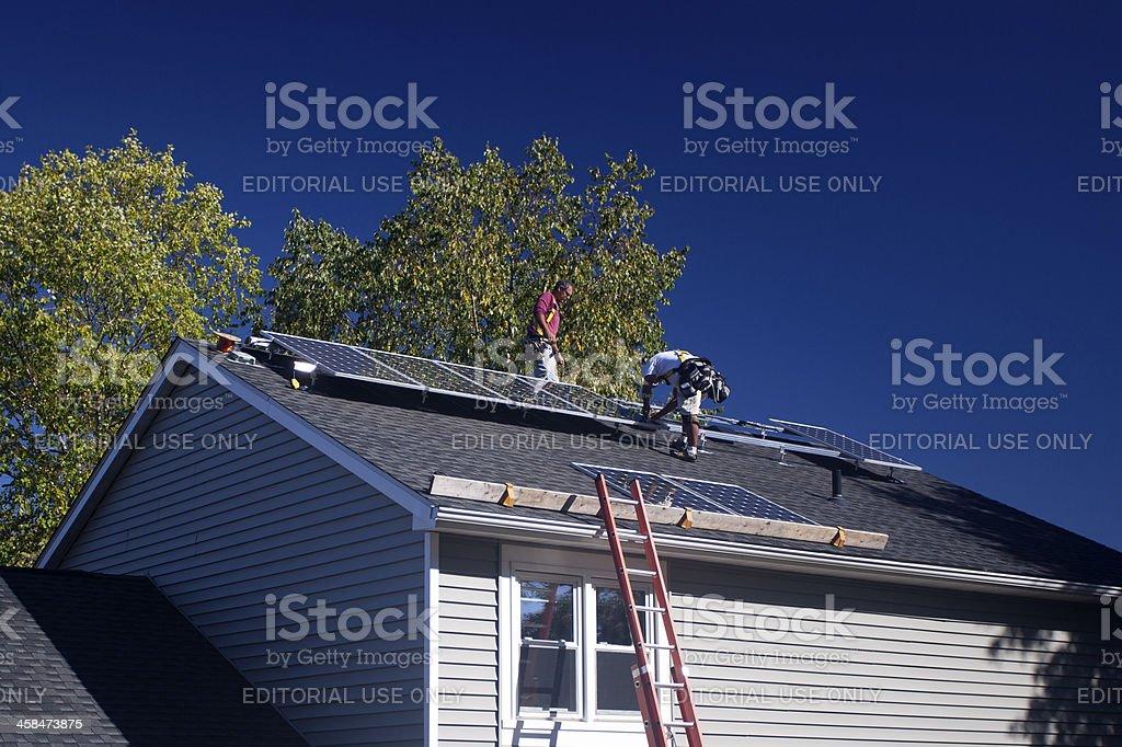 Residential Solar Panel Installation stock photo