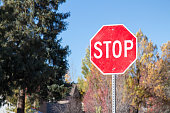 Residential stop sign in the autumn