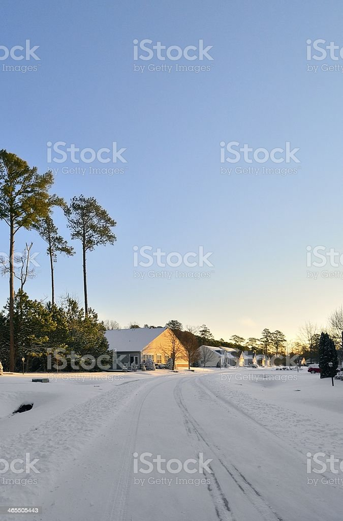 Residential Street After Snow Storm stock photo