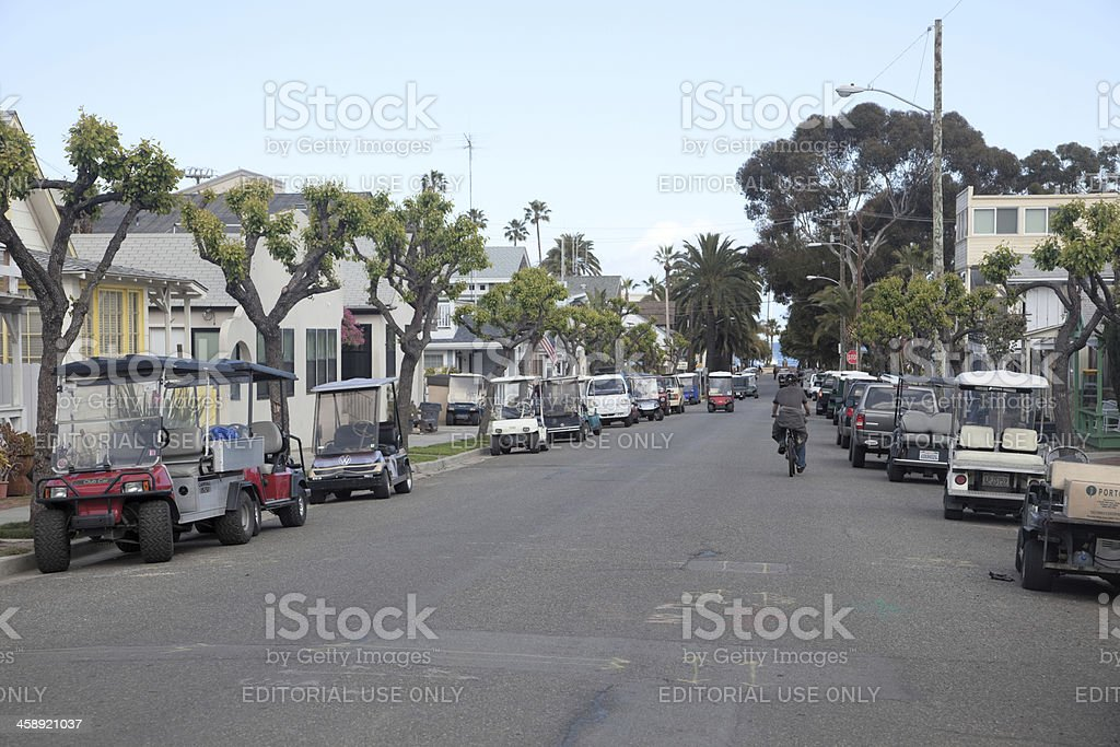 Residential Street in Avalon, Catalina Island stock photo