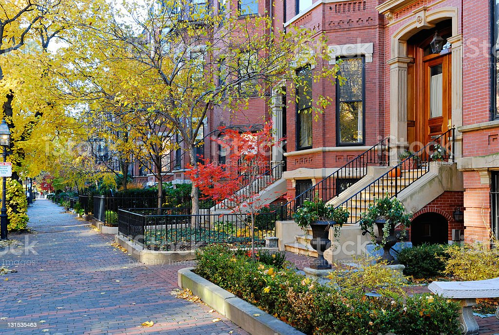 Residential street in Back Bay, Boston in Autumn stock photo