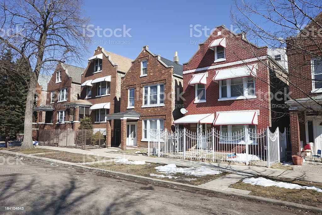 Residential Street in Brighton Park, Chicago royalty-free stock photo