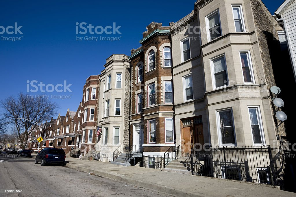 Residential Street in Chicago stock photo
