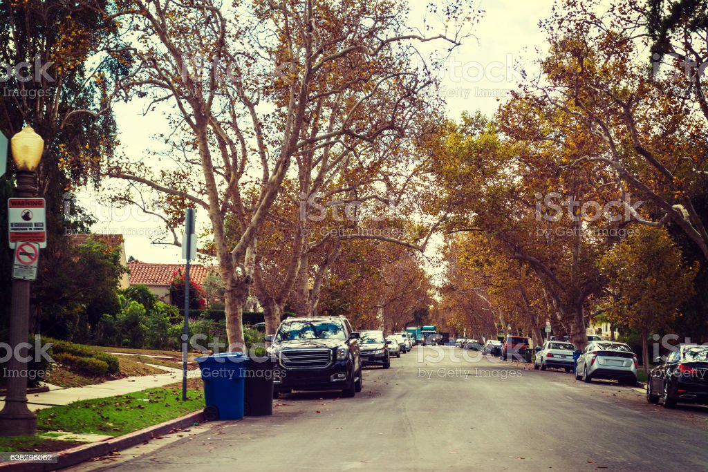 residential street in Los Angeles stock photo