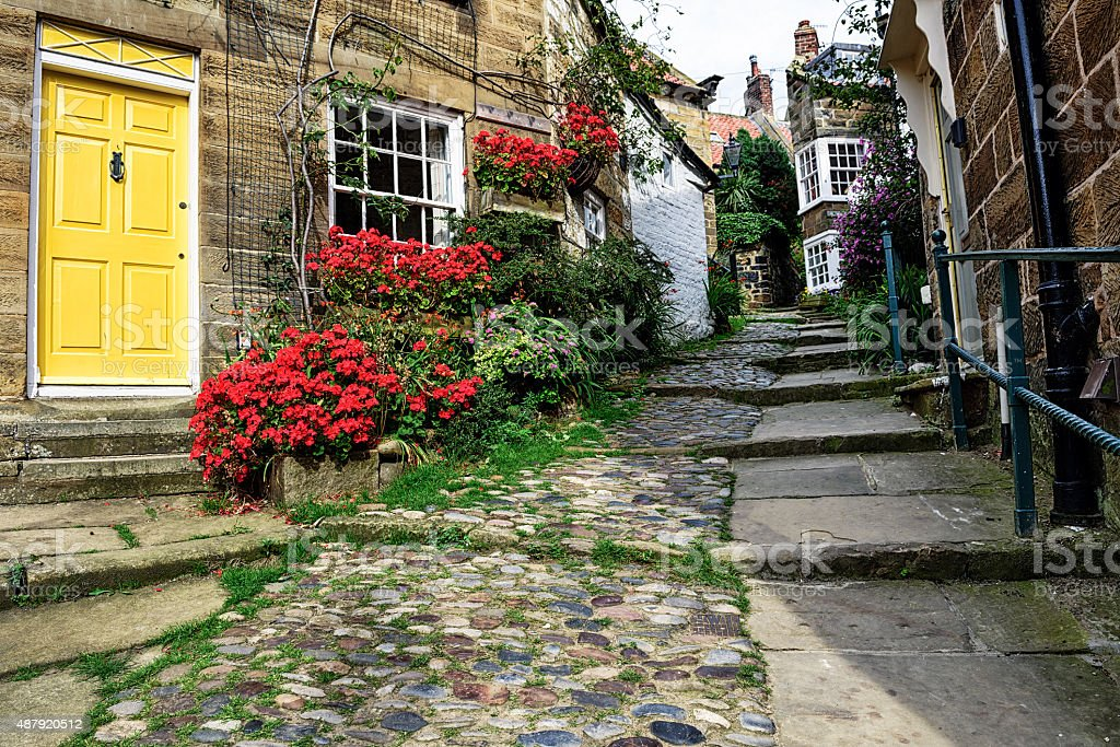 Residential street in Robin Hoods Bay, North Yorkshire stock photo