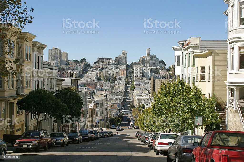 Residential street in San Francisco royalty-free stock photo
