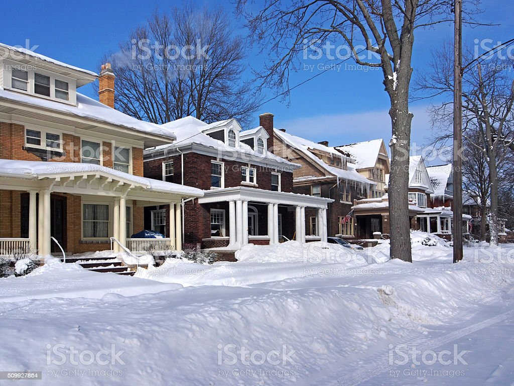 residential street in winter stock photo