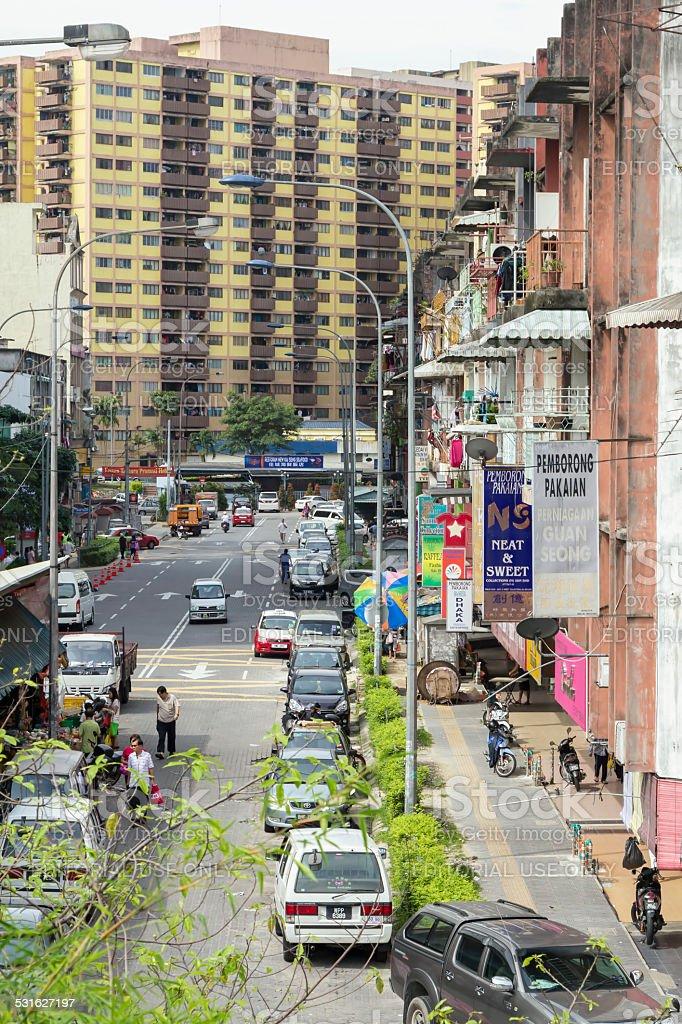 Residential street, Kuala Lumpur, Malaysia stock photo
