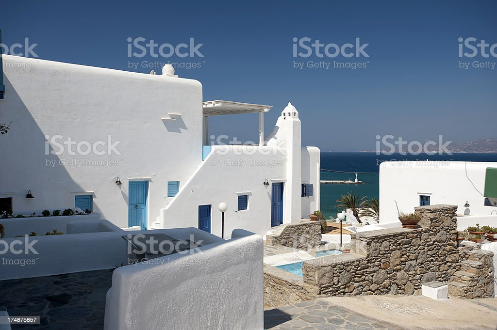 Residential Street of Mykonos royalty-free stock photo