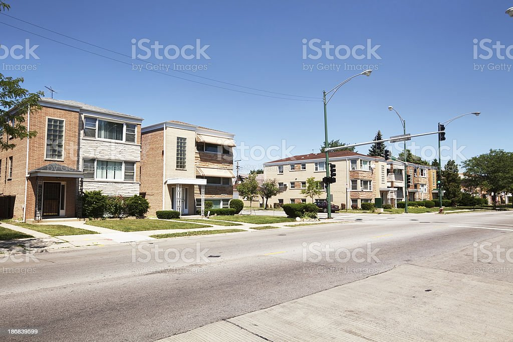 Residential Street with Apartment buildings in Jefferson Park, stock photo