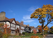 residential street with fall colors