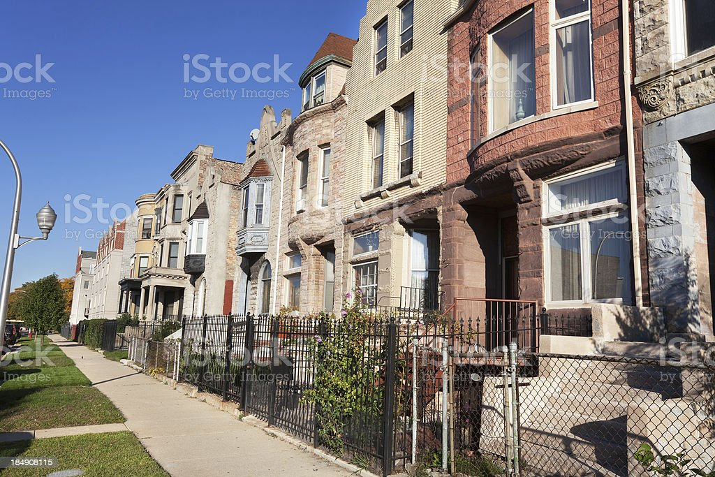 Residential Street with Victorian Houses, South Side of Chicago stock photo