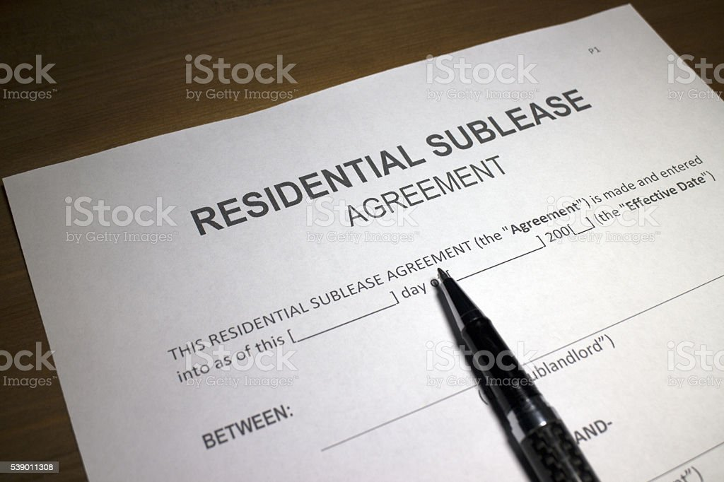 Residential Sublease Agreement stock photo