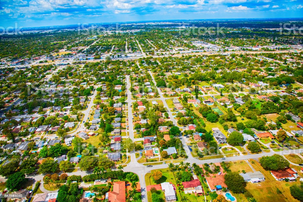 Residential Suburban Neighborhood From Above stock photo