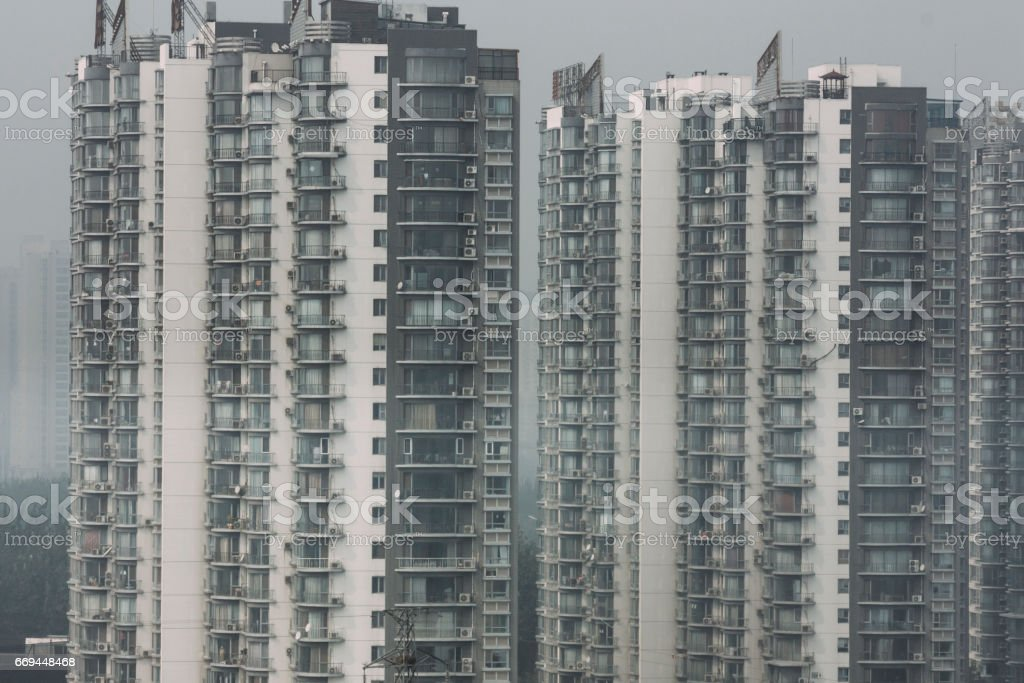 residential towers and  high housing density in beijing stock photo