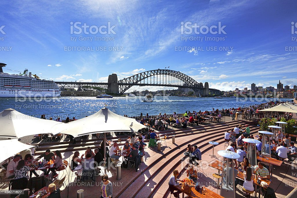 Residents and tourists at Circular Quay Sydney stock photo