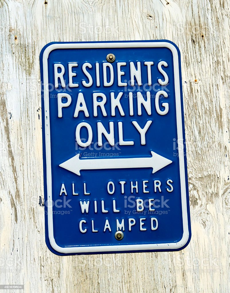 Residents' parking only - sign stock photo