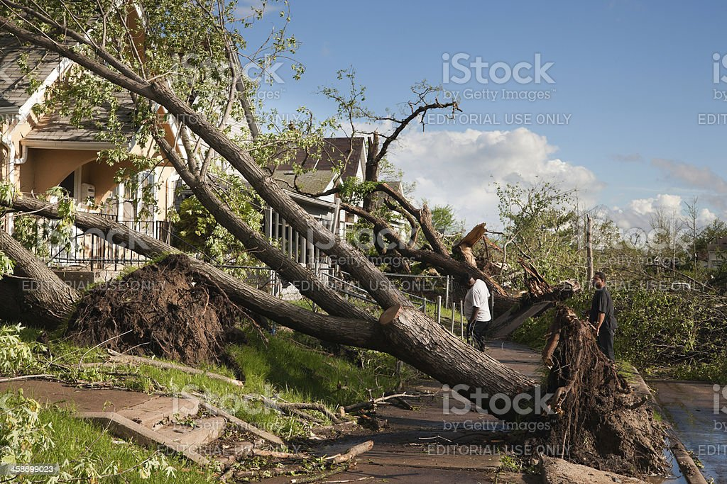 Residents survey tornado damage. royalty-free stock photo