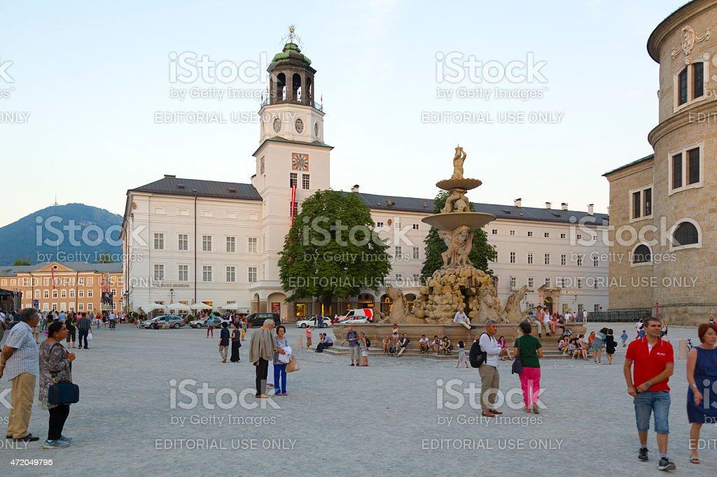 Residenzplatz in Salzburg. stock photo